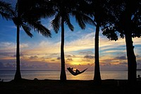 Woman in hammock, and palm trees at sunset, Coral Coast, Viti Levu, Fiji, South Pacific