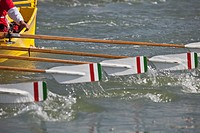 The traditional Vogalonga rowing boat challenge in Venice, Italy