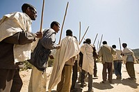Men celebrating the inauguration of a water pump in Wora Atle, Tigray, Ethiopia