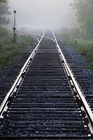 railway track in the early morning mist, ville de lac brome, quebec, canada