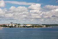 cityscape and buildings along the coastline, helsinki, finland