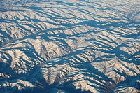 Aerial view of snow covered mountain range, Afghanistan, november