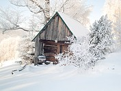 Wooden cottage under snow