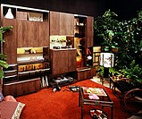 1970s Living room with wooden cupboards