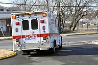 ambulance leaves the firehouse on a emergency call Bladensburg, Maryland