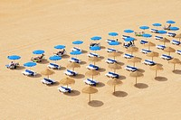 beach chairs and umbrellas set up in row on the beach, albufeira algarve portugal
