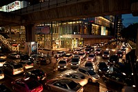 busy streets at night, bangkok thailand