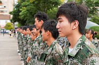 soldiers lined up in camouflage uniform, kunming yunnan china