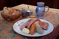 France, Bas Rhin, Strasbourg, Chez Yvonne Restaurant, dish of sauerkraut Choucroute