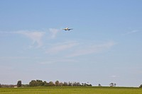 aircraft on final approach to the airport, edmonton, alberta, canada