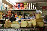 Italy, Veneto, Venice, Cheese stall in a grocery