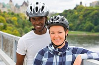 Cyclists with the Parliament buildings in the background