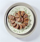 Buckwheat pancake rolled with smoked salmon and cream cheese