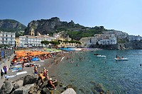 Italy, Campania, Amalfi Coast, listed as World Heritage by UNESCO, Amalfi, the beach