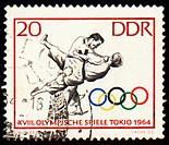 Post stamp shows judo