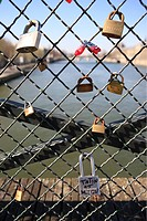 France, Paris, Pont des Arts Arts´ bridge, padlocks hung by lovers on the railing