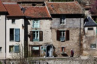 France, Haute Loire, Blesle, labelled Les Plus Beaux Villages de France The most beautiful villages of France, small houses on Voireuze River banks