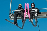 Family of skiers on a ski lift, Canada Olympic Park, COP, Calgary, Alberta, Canada