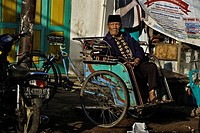 Indonesia, Java, East Java Province, Malang, central market, rickshaw