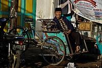 Indonesia, Java, East Java Province, Malang, central market, rickshaw