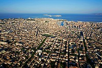 France, Bouches du Rhone, Marseille, Place Jean Jaures in the center, the Vieux Port and the archipelago of Friuli in the background aerial view