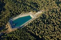 France, Bouches du Rhone, near Aix en Provence, Luynes, Canal de Provence, reserve Chante Perdrix aerial view