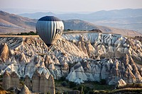 Turkey, Central Anatolia, Cappadocia, listed as World Heritage by UNESCO, Goreme valley, hot air balloons aerial view