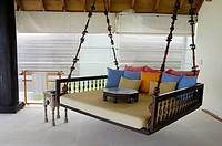 Maldives, South Male Atoll, Veliganduhuraa Island, Naladhu Hotel, luxury swing seat
