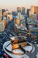 South Korea, Seoul, Namdaemun District, elevated view of Namdaemun market and Namdaemun gate before it was destroyed by arson archives