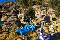 Peru, Puno province, Titicaca lake, colorful cemetery in the village of Chimo