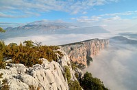 Escalès Cliffs and Early Morning Mist Verdon Gorge Alpes-de-Haute-Provence Provence France