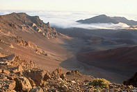 Crater viewed from the Visitor´s Center at Haleakala National Park, Maui, Hawaii. Also called the East Maui Volcano, Haleakala is massive shield volca...