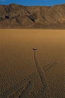 Sliding rock on Racetrack Playa in Death Valley National Park, California.