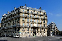 France, Paris, Haussmann first class type buildings on place of the Dominican Republic facing the park Monceau
