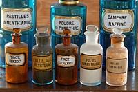 France, Territoire de Belfort, Belfort, pharmacy, dusty old bottles, Benzoin, methylene blue, thymic acid, Eucalyptus, Peppermint, Camphor, pyrethrum