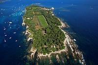 France, Alpes Maritimes, Cannes, Lerins island, Saint Honorat Island aerial view