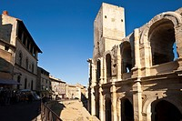 France, Bouches du Rhone, Arles, Arenes arenas, listed as World Heritage by UNESCO, Roman amphitheater dating from 80_90 AD