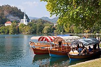 Slovenia, Gorenjska Region, Bled, the pletnas, local gondola to reach the island of the lake, the church Saint Martin in the background
