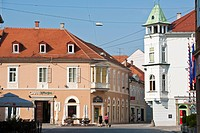 Slovenia, Lower Styria Region, Ptuj, town on the Drava River banks, Mestni Square