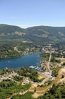 Aerial view of the town of Lake Cowichan on Cowichan Lake, Vancouver Island, British Columbia, Canada