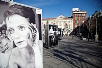 Exposition of photos in Plaza de Santa Ana square, Barrio de las Letras, Madrid, Spain, Europe