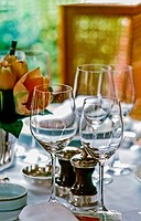 Paris, France - Classical French Restaurant, Detail, Table Setting with Empty Wine Glasses