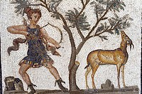 North Africa, Tunisia, Tunis. The Bardo Museum. Roman fresco mosaic. Diana the Huntress, doe.