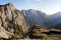 View from Mangart Pass with a panorama of the Julian Alps, Triglav National Park, Slovenia, Europe