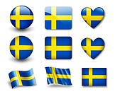 The Swedish flag _ set of icons and flags. glossy and matte on a white background.