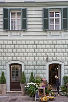 Slovakia, Bratislava, Historic neighborhood, Radnicna Street, a flower shop