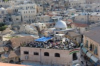 Rooftop café, Golden City, Christian Quarter, Old City of Jerusalem, Israel, Middle East
