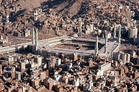 An aerial view of the Grand Mosque, in Mecca, Saudi Arabia.