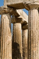 Doric columnes and capitals of the 5th cen  BC Temple of Apollo at Ancient Corinth, Peloponnese, Greece