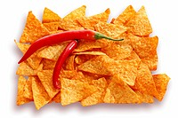 Tortilla chips with two chili peppers
